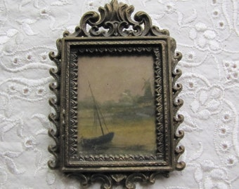 Vintage Miniature Aged Brass Italian Frame ~ Original Dutch Print