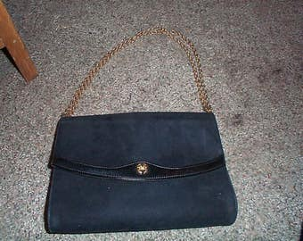 Vintage Black Suede Beinen Davis shoulder bag , gold chain  SEXY!