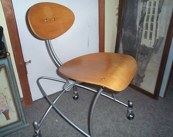 Sale !   Rare Joey Manic Virtual Office Chair 1990s -blond wood & steel frame Space age Design
