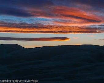 Great Sand Dunes National Park Sunset Photography - Colorado Landscape Fine Art Print, Colorful Sunset Photography