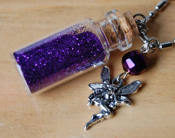 Purple Fairy Dust in a Bottle Necklace with Charm