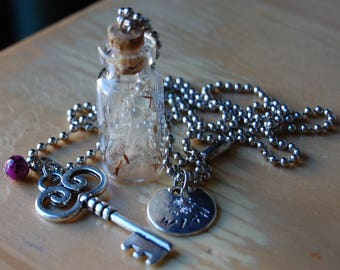 Wishes in a Bottle Necklace, Hand Stamped with Key