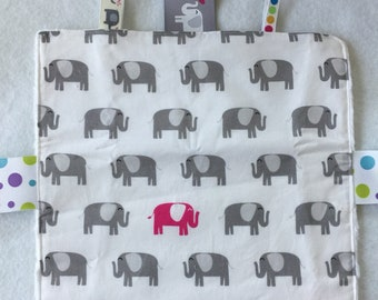 """9"""" x 9"""" teething blanket, tagging blanket, ribbons for chewing on, elephant fabric"""