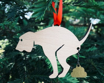 Pooping Pooches Merry Christmas Ornament