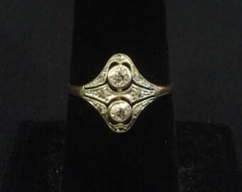 Edwardian diamond ring in platinum and 18K yellow gold