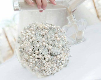 Crystal bouquet, FREE matching button hole, any colour