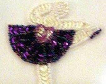 Sequins & Beaded Ballerina Purple Tutu (Small) Applique