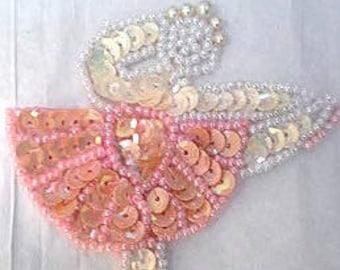 Sequins & Beaded Ballerina Pink Tutu (Small) Applique
