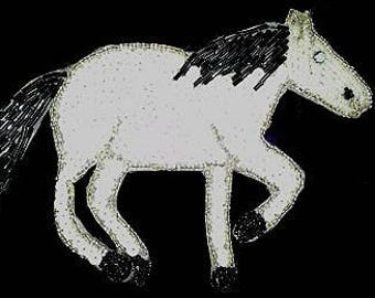 Sequins & Beaded Black and White Horse Applique  Mare Stallion Gelding