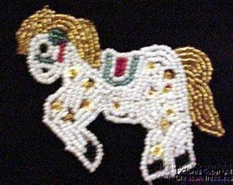 Sequins & Beaded Gold White Horse Colt Applique