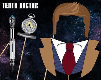 Doctor Who Photobooth Printables - Tenth Doctor Costume - Instant Download, Print, & Party - Dr Who Photo Booth Paper Props