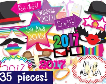 MEGA PACK New Years Photo booth Props - PRINTABLE - 35 piece - Instant Download, Print, Party - New Year's Eve Photobooth Paper Props Diy