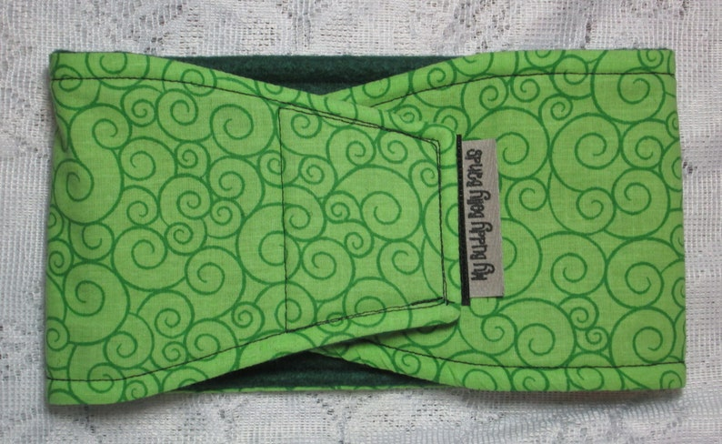 Swirls on Lime Green Male Dog Belly Band Diaper for Marking Incontinence w PUL /& All-in-One Options