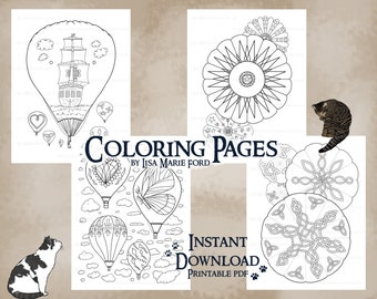 Set 4 of 9 Hot Air Balloons 4 Coloring Pages: Festival of Balloons, ship with sails, Celtic Knots, butterfly, heart, stars, Printable PDF