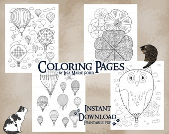 Set 3 of 9 Hot Air Balloons 4 Coloring Pages: Festival of Balloons with geometric shapes, flying contraptions, and an owl balloon
