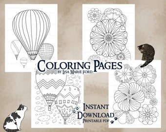 Set 1 of 9 Hot Air Balloons 4 Coloring Pages: Festival of Balloons with patterns, shapes, swirls, Printable Download by Lisa Marie Ford