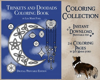 Trinkets and Doodads Coloring Collection 24 Printable Decorations Coloring Pages Digital Download PDF by Lisa Marie Ford