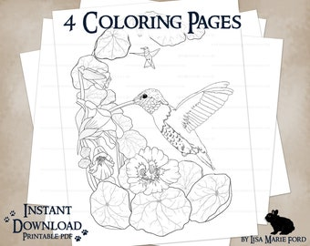 4 Wildlife Printable Coloring Pages: Dragonfly, Hummingbirds on nasturtiums, Butterflies, Cosmos, from Many Meetings by Lisa Marie Ford