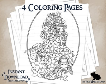 4 Wildlife Printable Coloring Pages: Rabbit, Turkey Chick, Bumble Bees Lilacs, Toad with Toadstool, from Many Meetings by Lisa Marie Ford