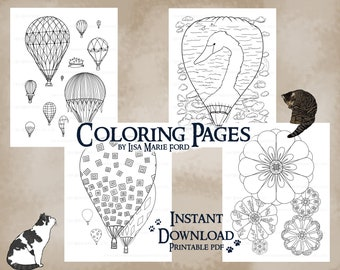Set 2 of 9 Hot Air Balloons 4 Coloring Pages: Festival of Balloons with swans, shapes, flying contraptions, Printable Digital Download