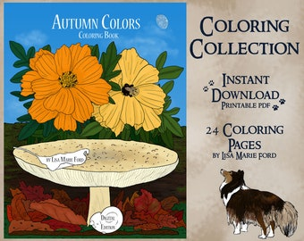 Autumn Colors Coloring Collection 24 Printable Coloring Pages Fall Digital Download PDF with Leaves, Pumpkins, Mushrooms by Lisa Marie Ford