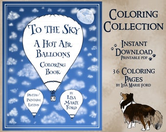 To The Sky A Hot Air Balloons Coloring Collection 36 Printable Airship & Flying Scene Coloring Pages Digital Download PDF by Lisa Marie Ford