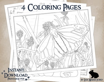 4 Wildlife Printable Coloring Pages: Chipmunks, Kingfishers, Pumpkin Mice, Monarch Clovers, from Many Meetings by Lisa Marie Ford