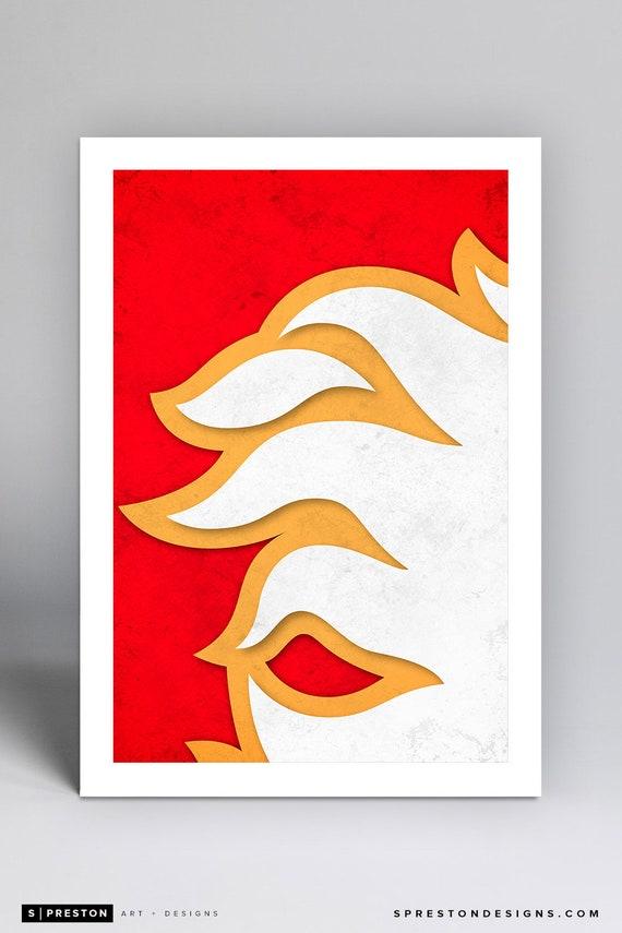 Minimalist Calgary Flames Logo - NHL Logo Art Print a2677c9be2cf