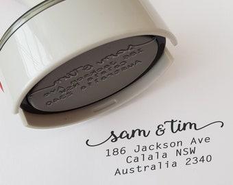 Return Address Name  Stamp Custom Made Personalised Calligraphy Self Inking Rubber Stamp 5cm x 3.5cm DIY Wedding Invitation Envelopes