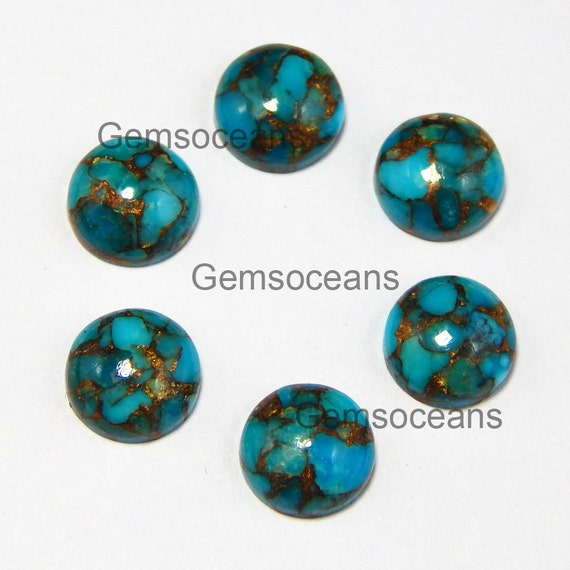 13mm Redondas de cabujón de piedras preciosas naturales Gema Turquesa