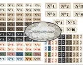 NUMBER Tabs - Ticket Ephemera Vintage Font Junk Journal Themed Words Phrases Digital Printable ephemera Sayings Tickets Ephemera