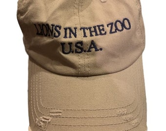 df8c40d1781f2 Vintage Distressed Hat X Lions In The Zoo Embroidered Outdoor Supply (KHAKI)
