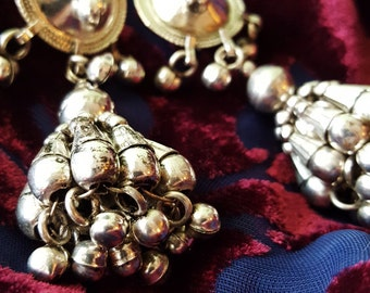 Silver tribal hippie gypsy chandelier earrings bellydance dangles bells Middle Eastern