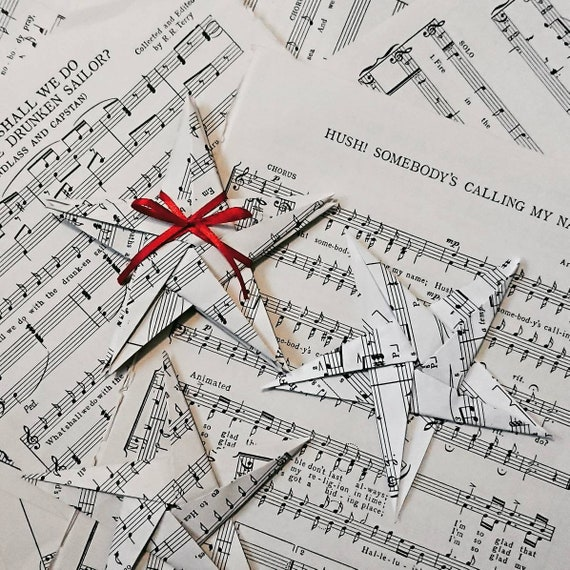 Recycled Sheet Music Origami Cranes - Set of 5 · Origami Delights ... | 570x570