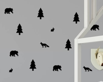 Woodland Decals - Tree Wall Decal - Kids Wall Decoration - Woodland Wall Decal - Forest Wall Decal - Fox Wall Decal - Nursery Wall Decal