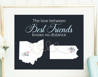 Best Friend Gift, Long Distance Best Friend Gift, Going Away Gift for Friend, Friendship Gift, BFF Gift, Best Friend Print