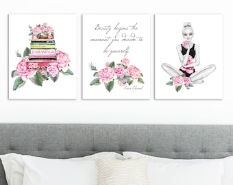 room decor gifts modern fashion wall art teen girl room decor glamour print coco quote gifts inspirational dorm girl room decor etsy