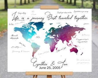 World Map Guest Book Canvas, Travel Destination Signature Guest Book, Wedding Guest Book Alternative, Wedding Guest Book Map, Wedding Decor