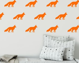 Fox Wall Decal - Kids Wall Decoration - Nursery Wall Decal - Fox Decal - Woodland Decal - Orange Fox Decal - Forest Decal - Woodland Room