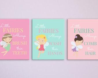 fairy bathroom decor kids bathroom art fairy print girls bathroom decor fairy bathroom sign set of 3 - Kids Bathroom Decor