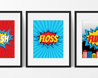 Superhero Bathroom Decor - Kids Bathroom Decor - Super Hero Bathroom - Kids Bathroom - Bathroom Rules - Super Hero Decor - Set of 3 Prints