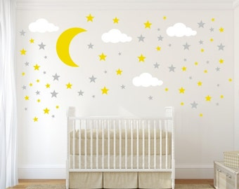 Moon, Stars And Clouds Decals, Cloud Wall Decal, Kids Wall Decoration,  Nursery Wall Decal, Wall Decal For Nursery