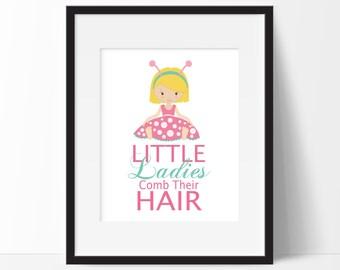 Girls Bathroom Decor, Ladybug Bathroom Prints, Ladybug Wall Art