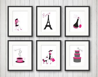 Exceptional Paris Decor, Teen Room Decor, Fashion Print, Fashion Art, Girls Fashion, Girls  Room Decor, Bedroom Art, Set Of 6