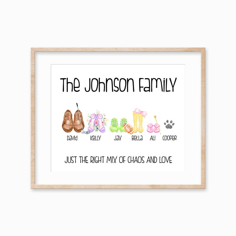 Personalized Shoe Family Print Family Gift for Mom Custom image 0