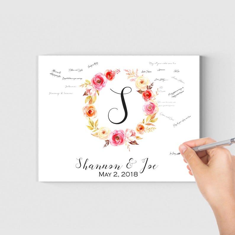 Guestbook Canvas Wedding Guest Book Print Wedding Guest Book Alternative Wedding Guest Book Ideas Pink Flowers Wedding Decor