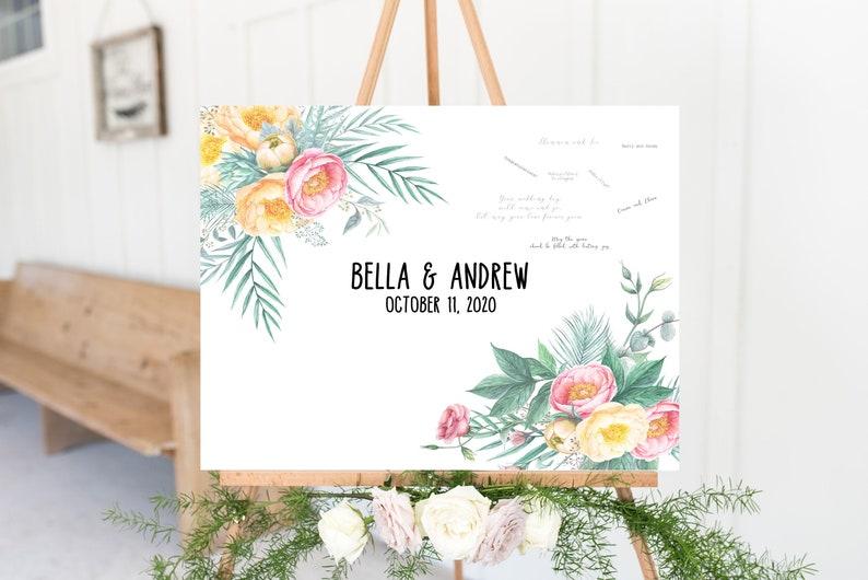Wedding Guest Book Alternative Sign Yellow and Pink Wedding Foam Board Print