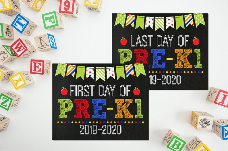 First Day Of Pre-K1 Sign PreK Sign Print Yourself 1st Day of image 0