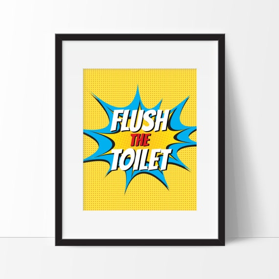 Kids Bathroom Art Superhero Pop Art Kids Wall Art