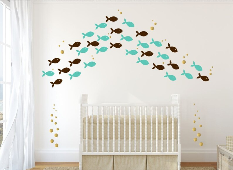 Sea Creature Decal  Kids Bathroom Decals  72 Fish Wall image 0